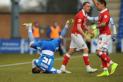 Colchester United's Matthew Briggs takes a tumble - Photo mandatory by-line: Dougie Allward/JMP - Mobile: 07966 386802 - 21/02/2015 - SPORT - Football - Colchester - Colchester Community Stadium - Colchester United v Bristol City - Sky Bet League One