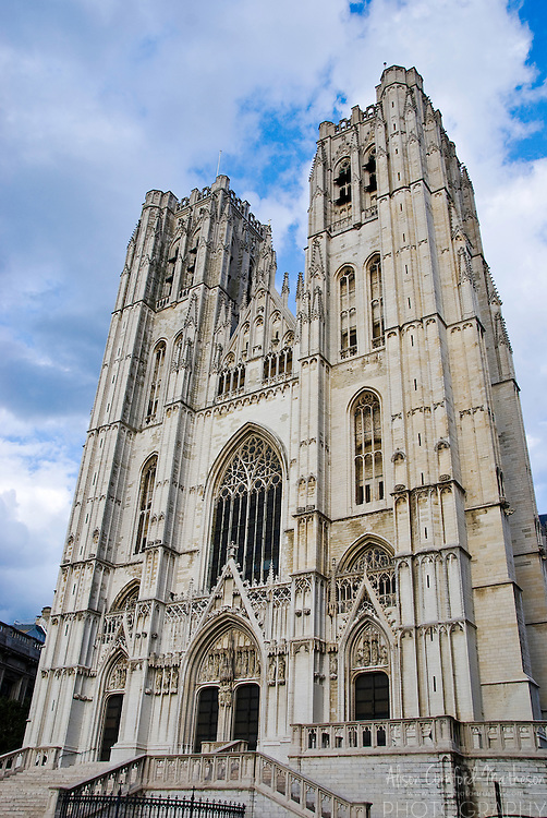 The Cathedral of St. Michael and St. Gudula, Brussels, Belgium is located near the Grand Place.