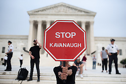 October 5, 2018 - Washington, District of Columbia, U.S. - A protester holds a sign calling on the Senate to 'Stop Kavanaugh.' (Credit Image: © Zach RobertsZUMA Wire)