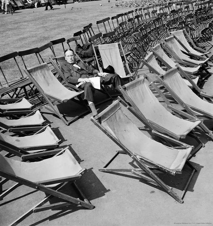 Deck Chairs, Man Sleeping, London, 1937