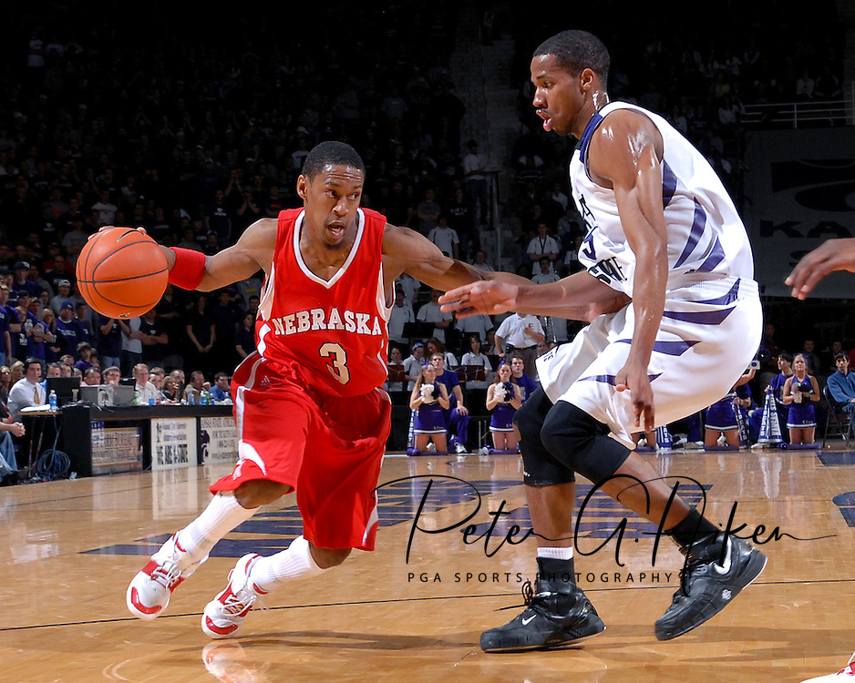 Nebraska guard Charles Richardson Jr. (3) drives against pressure from Kansas State guard Clent Stewart (R), during the first half at Bramlage Coliseum in Manhattan, Kansas, January 27, 2007.  K-State beat Nebraska 61-45.