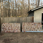 **Outdoor sign 4ft by 8ft from atop grocery hand made with 7in plastic letter- text- welcoming Jews & gentiles..<br />
