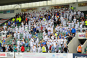 Hundreds of Hartlepool United fans in the crowd dressed as Storm Troopers during the Sky Bet League 2 match between Plymouth Argyle and Hartlepool United at Home Park, Plymouth, England on 7 May 2016. Photo by Graham Hunt.