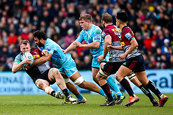 Marco Mama of Worcester Warriors tackles Alex Dombrandt of Harlequins - Mandatory by-line: Robbie Stephenson/JMP - 16/02/2019 - RUGBY - Twickenham Stoop - London, England - Harlequins v Worcester Warriors - Gallagher Premiership Rugby
