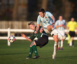Edinburgh University&rsquo;s Jack Guthrie and Gala Fairydean Rovers Billy Miller. <br /> Edinburgh University 2 v 3 Gala Fairydean Rovers, Scottish Sun Lowland League game played 15/11/2014 at Peffermill Playing Fields.