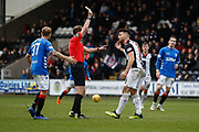Ian McShane of St Mirren receives a yellow card during the Ladbrokes Scottish Premiership match between St Mirren and Rangers at the Simple Digital Arena, Paisley, Scotland on 3 November 2018.