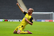 Burton Albion forward Liam Boyce celebrates scoring the opening goal during the EFL Sky Bet League 1 match between Milton Keynes Dons and Burton Albion at stadium:mk, Milton Keynes, England on 5 October 2019.