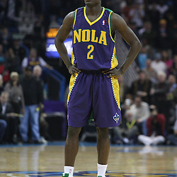 Feb 10, 2010; New Orleans, LA, USA; New Orleans Hornets guard Darren Collison (2) on the court against the Boston Celtics during the first half at the New Orleans Arena. The Hornets wearing special Mardi Gras themed uniforms defeated the Celtics 93-85. Mandatory Credit: Derick E. Hingle-US PRESSWIRE