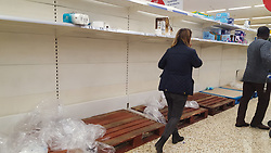 © Licensed to London News Pictures. 08/03/2020. London, UK. Tesco store in London runs out of toilet rolls amid an increased number of cases of Coronavirus (COVID-19) in the UK. Major supermarkets including Tesco, have started to ration certain products after shoppers began to stockpile. 273 cases in the UK have tested positive of the virus. Photo credit: Dinendra Haria/LNP