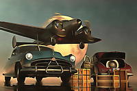 Although not directly based on the classic Humphrey Bogart film, there is definitely something to this piece that makes you think of the famous film Casablanca. It must be the combination of old-timer cars with an airplane that certainly looks as though it swooped in from yesteryear. Bringing these things together for a single acryl on canvas piece, it isn't difficult to be pulled in by the mystery of a fine art example such as this. As we move deeper and deeper into what this piece really means to us, we can find ourselves moving into another era. Available as t-shirts, wall art, or interior décor products. .<br />