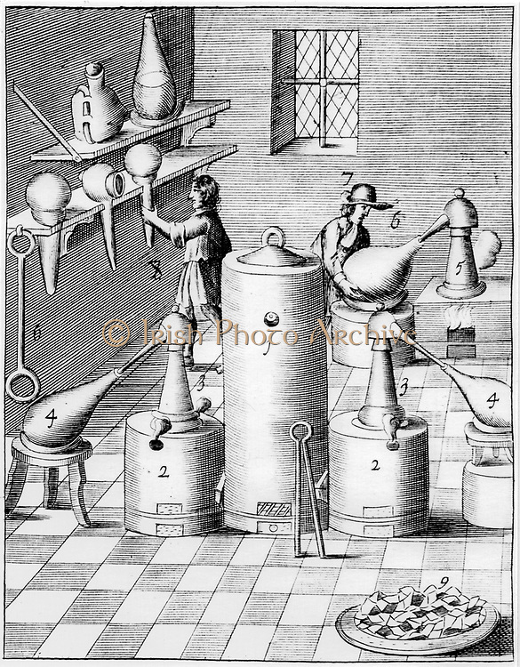 Laboratory for refining gold and silver, showing typical laboratory equipment. 1, Athanor or 'Slow Harry', a self-feeding furnace maintaining a constant temperature. 2,2. Side furnaces with receivers on stools, 4,4.  On right of top shelf is a glass vessel shaped like an Hermetic vase. From 1683 English edition of 'Beschreibung allerfurnemisten mineralischen Ertzt', Lazarus Ercker, (Prague, 1574). Copperplate engraving.