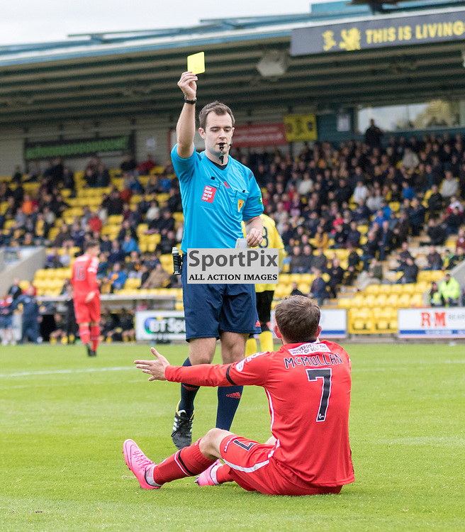 Referee Dan Robertson books St. Mirren's Paul McMullan for diving in the box in the Livingston vs St. Mirren Scottish Championship 17th October 2015......(c) MARK INGRAM | SportPix.org.uk