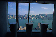 Hong Kong. Peninsula hotel, bathroom of the Felix restaurant, the best view in town. .   15   / hôtel Peninsula: Le  restaurant  - Félix -  design by ph Starck depuis les toilettes des femmes on peut admirer une  des plus belle vue de la planète.   15  / L3010  / R00224/91