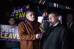 London, UK. 29th January, 2019. Leader of UKIP Gerard Batten is interviewed outside Parliament as MPs vote on amendments to the Prime Minister's final Brexit withdrawal agreement which could determine the content of the next stage of negotiations with the European Union.
