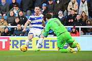 Queens Park Rangers forward Conor Washington (9) shot on  goal during the EFL Sky Bet Championship match between Queens Park Rangers and Burton Albion at the Loftus Road Stadium, London, England on 28 January 2017. Photo by Matthew Redman.