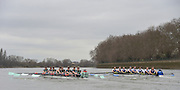 Putney, Great Britain.  CUWBC,left moving along the Fulham Wall during the  2015 Pre Boat Race Fixture, Cambridge University Women's Boat Club vs Imperial College Women's Boat Club, Championship Course, River Thames.  England. <br /> Sunday  08/03/2015 <br /> <br /> [Mandatory Credit; Peter Spurrier/Intersport-images]