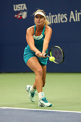 September 6, 2017 - New York City, New York, United States - CoCo Vandeweghe of the United States return the ball against Karolina Pliskova of Czech Republic (not seen) during Women's Singles Quarter Finals tennis match within the 2017 US Open Tennis Championships at Arthur Ashe Stadium in New York, United States on September 6, 2017. (Credit Image: © Foto Olimpik/NurPhoto via ZUMA Press)