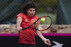 April 21, 2018 - La Manga, Murcia, Spain - Carla Suarez Navarro of Spain hits a shot during training during day one of the Fedcup World Group II Play-offs match between Spain and Paraguay at Centro de Tenis La Manga Club on April 21, 2018 in La Manga, Spain  (Credit Image: © David Aliaga/NurPhoto via ZUMA Press)