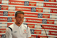 Chris Gunter of Wales. Wales football players media session at St.Davids Hotel in Cardiff on Tuesday 4th Sept 2012, the Welsh players talk about their forthcoming World cup qualifier against Belgium on Friday 8th Sept.  pic by  Andrew Orchard, Andrew Orchard sports photography,