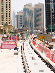 construction of new Al Sufouh tramway in Dubai United Arab Emirates