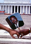 "The 20-year anniversary of Martin Luther King's ""I Have a Dream"" speech that he gave in August of 1963 drew as many participants.  Demonstrators gathered as before by the Lincoln Memorial to commemorate the march."
