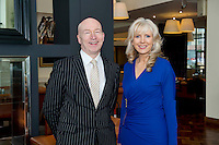 Liam Bluett, General manager SCCUL Enterprises and  and Last Years Winner Carmel Dooley, Director of the Marine Institute Choir  at the launch of  Launch of Choirfactor 2014' which takes place in the Radisson Blu Hotel, Galway on Friday 11th April 2014. Photo:Andrew Downes