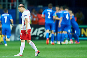 Lublin, Poland - 2017 June 16: Przemyslaw Frankowski from Poland U21 reacts after lost goal while Poland v Slovakia match during 2017 UEFA European Under-21 Championship at Lublin Arena on June 16, 2017 in Lublin, Poland.<br /> <br /> Mandatory credit:<br /> Photo by &copy; Adam Nurkiewicz / Mediasport<br /> <br /> Adam Nurkiewicz declares that he has no rights to the image of people at the photographs of his authorship.<br /> <br /> Picture also available in RAW (NEF) or TIFF format on special request.<br /> <br /> Any editorial, commercial or promotional use requires written permission from the author of image.