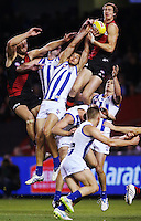 Joe Daniher of the Bombers takes a massive screamer during the 2015 AFL Round Seven  match between the Essendon Bombers and the North Melbourne Kangaroos at Etihad Stadium. (Copyright Michael Dodge/AFL Media)