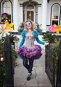 Mardi Gras 2015: Stacy Hoover in costume outside her home, Wonderland, at 3405 Royal Street, in the Bywater neighborhood of New Orleans