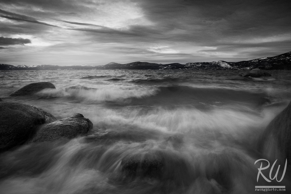 Gloomy Winter Evening at Sand Harbor, Lake Tahoe State Park, Nevada<br />