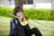 Elliot Nolan from Newbridge Co. Kildare at AIT(Athlone Institute of Technology ) practising before performing at  the HSE Community Games National finals 2010. Photo:Andrew Downes.