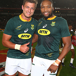 Handre Pollard with Lukhanyo Am of South Africa during the 2018 Castle Lager Incoming Series 1st Test match between South Africa and England at Emirates Airline Park,<br /> Johannesburg.South Africa. 09,06,2018 Photo by (Steve Haag Sports)