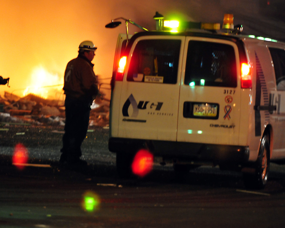2/9/2011 Allentown, PA Emergency crews respond to a massive explosion Wednesday night in the area of 13th and Allen Street. Express-Times Photo |CHRIS POST