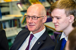 Pictured: John Swinney<br /> <br /> Education Secretary  John Swinney visited Firrhill School today and met students and parents as the results wer available for opening.<br /> <br /> <br /> Ger Harley | EEm 7 August 2018