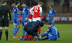 Gwion Edwards of Peterborough United requires treatment after picking up an injury - Mandatory by-line: Joe Dent/JMP - 17/12/2017 - FOOTBALL - Highbury Stadium - Fleetwood, England - Fleetwood Town v Peterborough United - Sky Bet League One