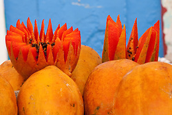 North America, Mexico, Oaxaca Province, Oaxaca, papaya on display in market