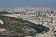 Aerial Photography of Tel Aviv, Israel the Yarkon River and park in the centre