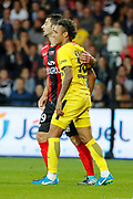 Neymar da Silva Santos Junior - Neymar Jr (PSG) and Christophe KERBRAT (En Avant De Guingamp) during the French championship L1 football match between EA Guingamp v Paris Saint-Germain, on August 13, 2017 at the Roudourou stadium in Guingamp, France - Photo Stephane Allaman / ProSportsImages / DPPI