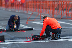 Boston Marathon: BAA 5K road race, setting up race course