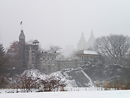 Belvedere Castle in the snow