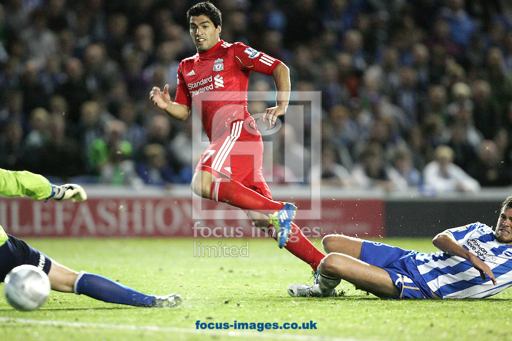 Picture by Paul Terry/Focus Images Ltd..21/9/11.Luis  Suarez of Liverpool watches as his shot goes wide during the Carling Cup third round match at The American Express Community Stadium, Brighton.