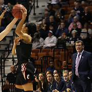 Geno Auriemma the UConn coach during the UConn Vs Cincinnati Quarterfinal Basketball game at the American Women's College Basketball Championships 2015 at Mohegan Sun Arena, Uncasville, Connecticut, USA. 7th March 2015. Photo Tim Clayton