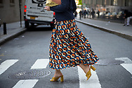 Print Skirt and Yellow Mules, Outside Victoria Beckham SS2018