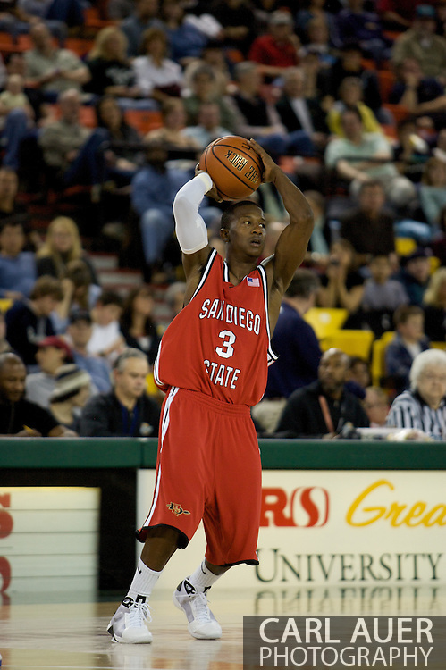 November 29, 2008: San Diego State guard Richie Williams (3) in the championship game of the 2008 Great Alaska Shootout at the Sullivan Arena.  San Diego State would keep Hampton scoreless for most of the first 7 minutes of the game and never look back on the Aztec's run to the win Saturday night.