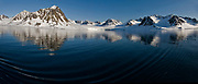 Midnight-sun scenery from Magdelenefjord, western Spitsbergen, Svalbard.