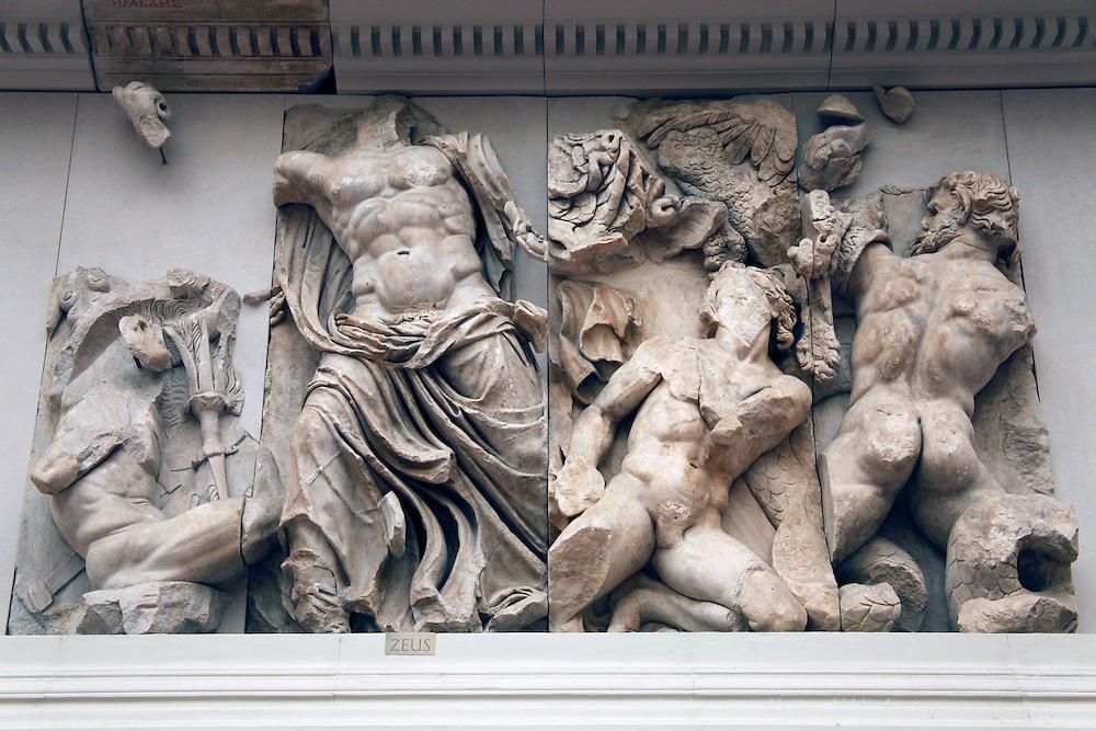 Europe, Germany, Berlin. Gigantomachy Frieze at Pergamon Museum.