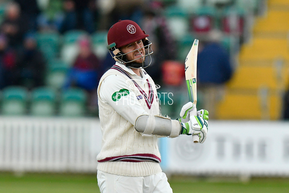 Steve Davies of Somerset walks back to the pavilion after being dismissed by Ben Coad of Yorkshire during the third day of the Specsavers County Champ Div 1 match between Somerset County Cricket Club and Yorkshire County Cricket Club at the Cooper Associates County Ground, Taunton, United Kingdom on 29 April 2018. Picture by Graham Hunt.