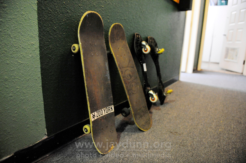 Skateboard parking at the Breadbox Recreation Center, a non-traditional safe space for youth at 745 North Sanborn Road in Salinas.