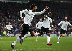 Derby County's Tom Huddlestone celebrates scoring against Brentford with his team mates during the Sky Bet Championship match at Pride Park