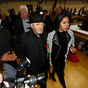 Respect Party candidate George Galloway arriving at the count for the Bradford East, South and West constituencies at the Richard Dunn leisure centre in Bradford.
